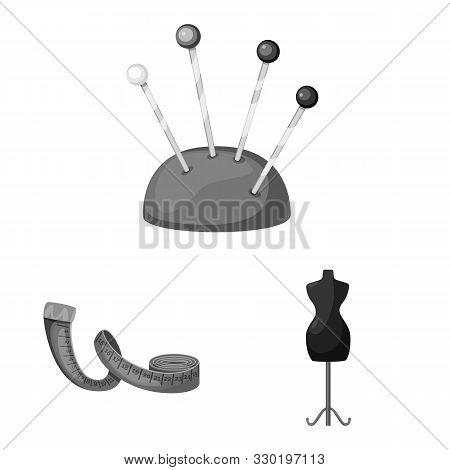Vector Illustration Of Dressmaking And Textile Logo. Set Of Dressmaking And Handcraft Stock Symbol F