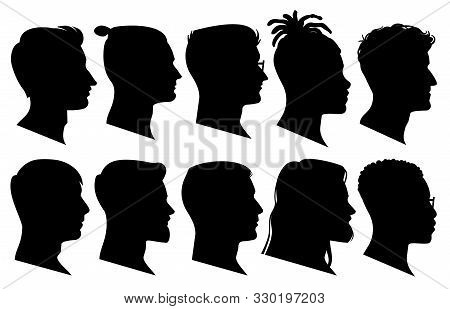Silhouette Man Heads In Profile. Black Face Outline Avatars, Professional Male Profiles Anonymous Po