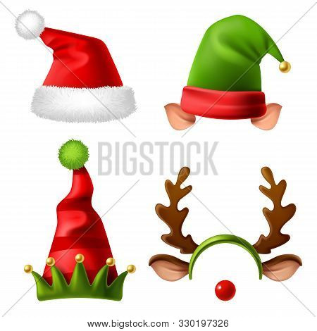 Christmas Holiday Hats. Santa Claus Red Cute Cap, Snow Reindeer And Elves Fur Hat. Funny Winter Cele