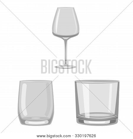 Vector Illustration Of Capacity And Glassware Sign. Set Of Capacity And Restaurant Vector Icon For S
