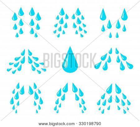 Cartoon Tears. Cry, Water And Sweat Drops, Eye Droplets. Teardrop Rain, Unhappy Crying Character Emo