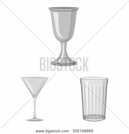 Vector Design Of Capacity And Glassware Icon. Collection Of Capacity And Restaurant Vector Icon For