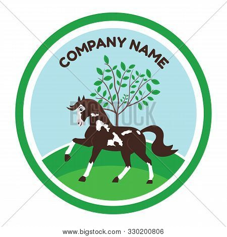A Horse Logo Vector Design. A Cute, Cartoon Horse, Little Pony Character. Ideal For Kid Camps, Anima