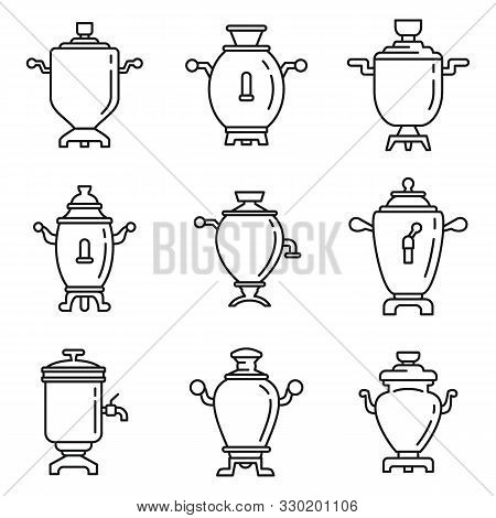Russian Samovar Icons Set. Outline Set Of Russian Samovar Vector Icons For Web Design Isolated On Wh