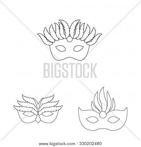 Vector Illustration Of Masquerade And Mystery Sign. Collection Of Masquerade And Festival Vector Ico