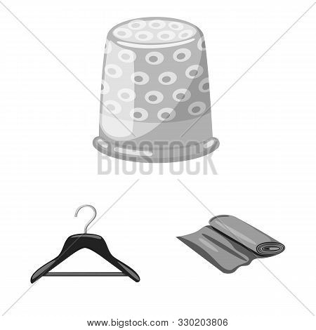 Vector Design Of Dressmaking And Textile Symbol. Collection Of Dressmaking And Handcraft Stock Symbo