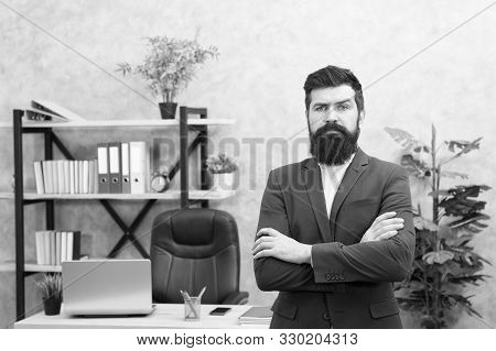 Every Boss Started As Worker. Man Bearded Hipster Boss Looking At You With Attention. Boss Standing