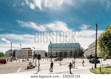 Oslo, Norway - June 24, 2019: People Cross The Road On The Henrik Ibsens Gate Street.