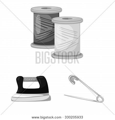 Vector Illustration Of Dressmaking And Textile Logo. Set Of Dressmaking And Handcraft Vector Icon Fo