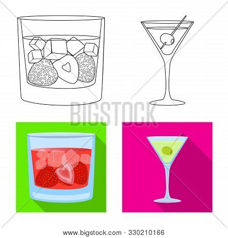 Isolated Object Of Liquor And Restaurant Icon. Set Of Liquor And Ingredient Stock Symbol For Web.