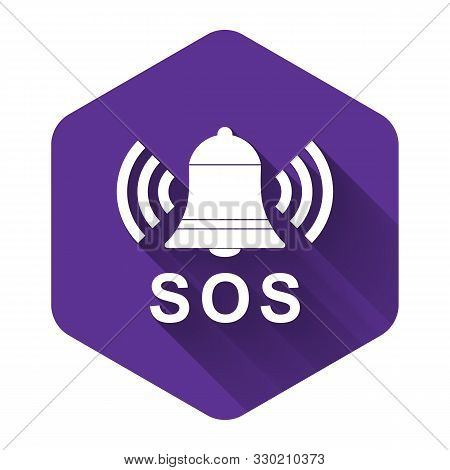 White Alarm Bell And Sos Lettering Icon Isolated With Long Shadow. Warning Bell, Help Sign. Emergenc