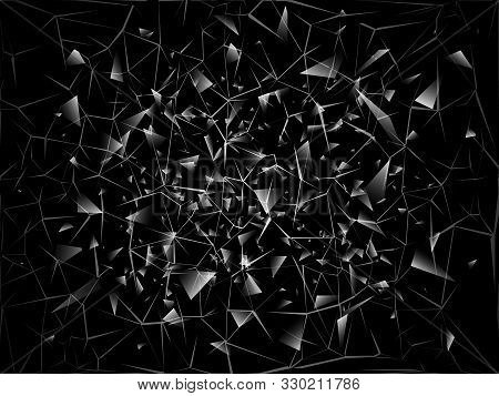 Shards Of Broken Glass, Abstract Black Explosion, Vector Background