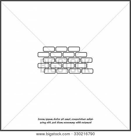 Vector Brick Icon. Illustration Of Brickwork. Brick Wall On White Isolated Background.