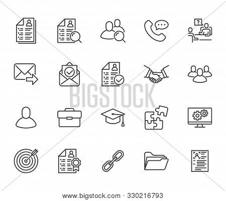 Resume Flat Line Icons Set. Hr Human Resources, Job Application, Interview Employee Profile, Teamwor