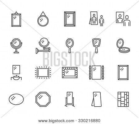 Mirror, Reflection Flat Line Icons Set. Various Mirrors - Round, Makeup, Full Length, Bathroom Inter