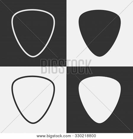 Set Guitar Pick Icon. Guitar Pick Line Icon