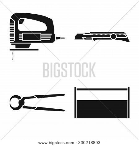 Vector Design Of Handicraft And Construction Logo. Set Of Handicraft And Tool Vector Icon For Stock.