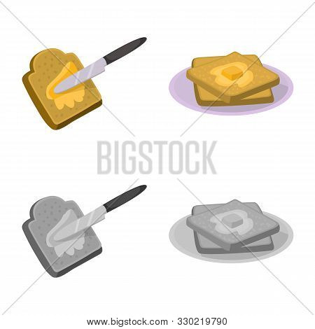 Vector Design Of Creamy And Product Sign. Set Of Creamy And Farm Stock Symbol For Web.
