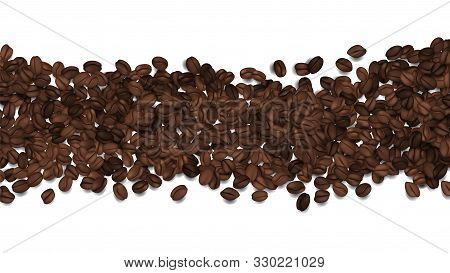 Roasted Coffee Beans. Vector Beans Isolated On White. Coffee Background Banner Template. Illustratio