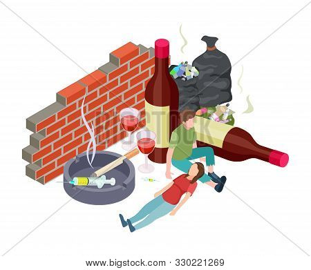 Bad Habits. Isometric Addictions Concept. Vector People With Addiction. Alcohol, Drugs, Nicotine. Ho