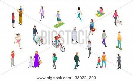 Different People. Isometric Persons, Kids, Men, Women. 3d Vector Active People Walk, Businessman, At