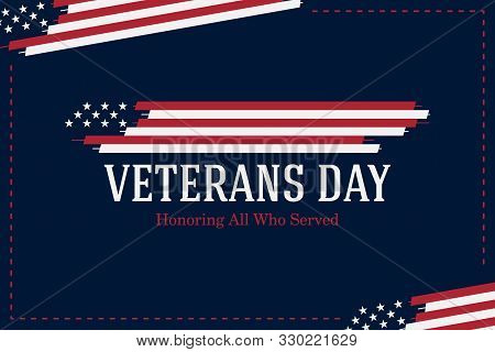 Veterans Day. Greeting Card With Usa Flag On Blue Background. National American Holiday Event. Flat