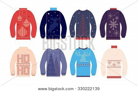 Ugly Sweater. Traditional Ugly Christmas Sweaters With Different Cute Prints And Ornaments, Funny Ho