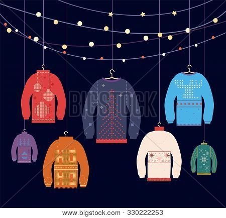 Ugly Sweater. Christmas Sweaters With Different Cute Prints And Ornaments, New Years Party Greeting