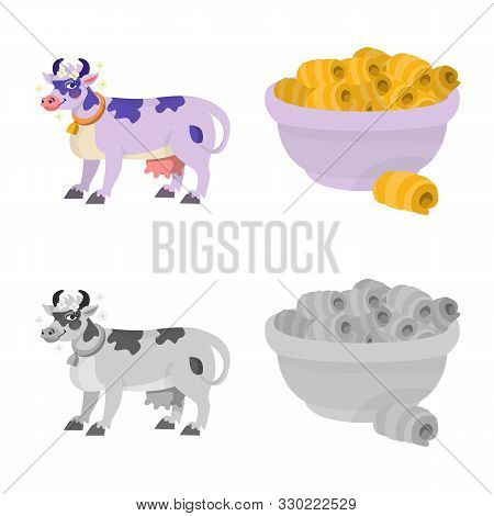Vector Design Of Creamy And Product Symbol. Collection Of Creamy And Farm Stock Vector Illustration.