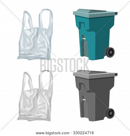 Vector Design Of Refuse And Junk Logo. Set Of Refuse And Waste Vector Icon For Stock.