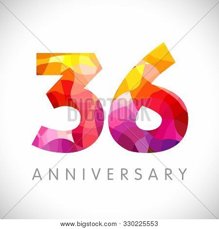 36 Th Anniversary Numbers. 36 Years Old Yellow Coloured Logotype. Age Congrats, Congratulation Idea.