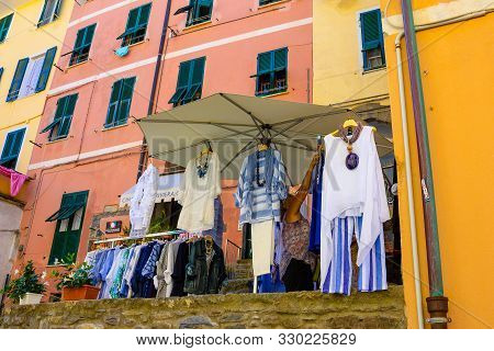 Vernazza, Italy - September 14, 2019: The Shop And Boutique At The Hillside Village Vernazza, Italy,