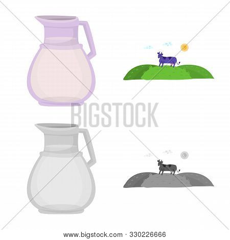 Vector Design Of Creamy And Product Symbol. Set Of Creamy And Farm Vector Icon For Stock.