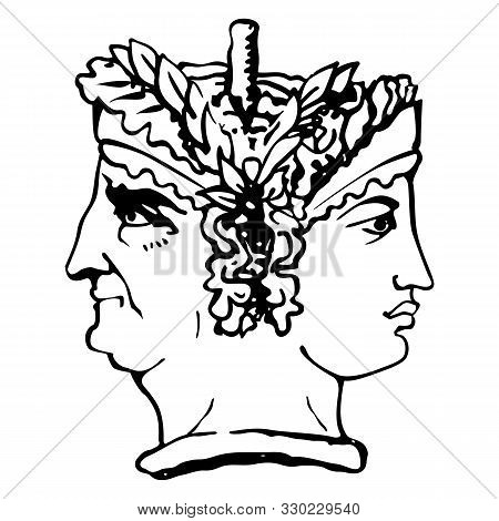 Two-faced Janus. Young Woman And Old Woman Heads In Profile, Connected By The Nape. Stylization Of T