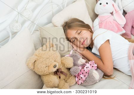Play Soft Toy Before Go Sleep. Sleep With Toy. Carefree Childhood. Relaxing Before Sleep. Girl Enjoy