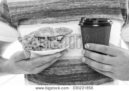 Quick Snack. Coffee And Croissant. Junk Food. Calories And Dieting. Croissant Stuffed With Lettuce A