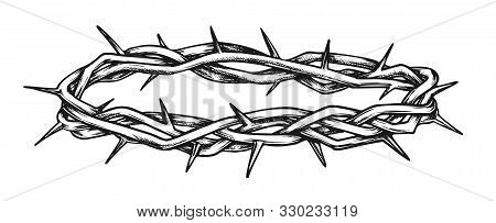 Crown Of Thorns Religious Symbol Monochrome Vector. Crown For Suffering Of Jesus Christ Head On Cruc