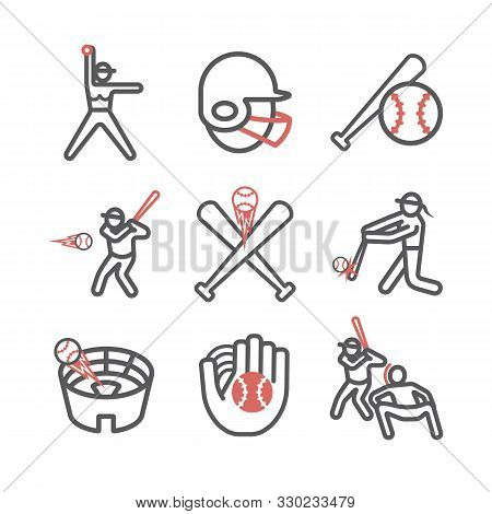Softball Line Icons. Vector Sport Signs For Web Graphics.