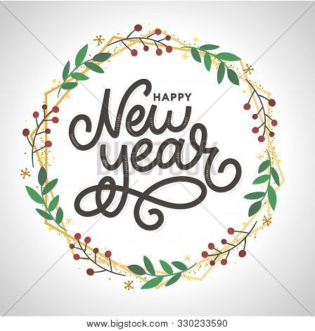 Happy New 2016 Year. Holiday Vector Illustration With Lettering Composition With Burst Christmas
