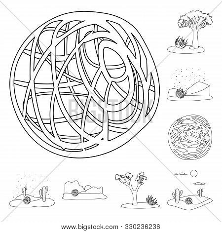 Vector Design Of Wilderness And Texas Symbol. Set Of Wilderness And Pasture Vector Icon For Stock.
