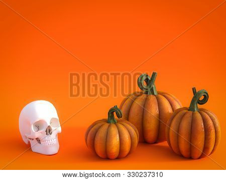 3d Rendering Of A Halloween Fall Pumpkin Greeting Card With A Skull And Three Pumpkins In The Bottom