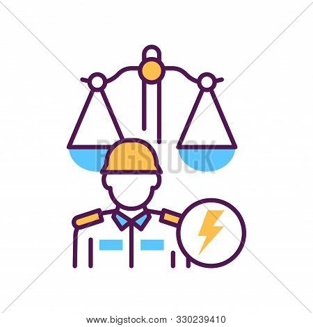 Military Court Line Color Icon. Judiciary Concept. Officer In Uniform Element. Sign For Web Page, Mo