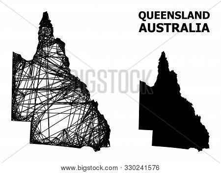 Net Vector Map Of Australian Queensland. Wire Frame Flat Network In Eps Vector Format, Geographic Mo