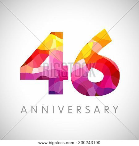 46 Th Anniversary Numbers. 46 Years Old Yellow Coloured Logotype. Age Congrats, Congratulation Idea.