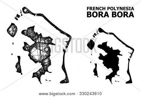 Web Vector Map Of Bora-bora. Wire Frame Flat Network In Vector Format, Geographic Model For Educatio