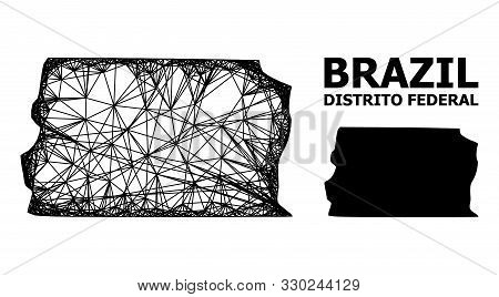 Net Vector Map Of Brazil - Distrito Federal. Linear Carcass 2d Mesh In Vector Eps Format, Geographic