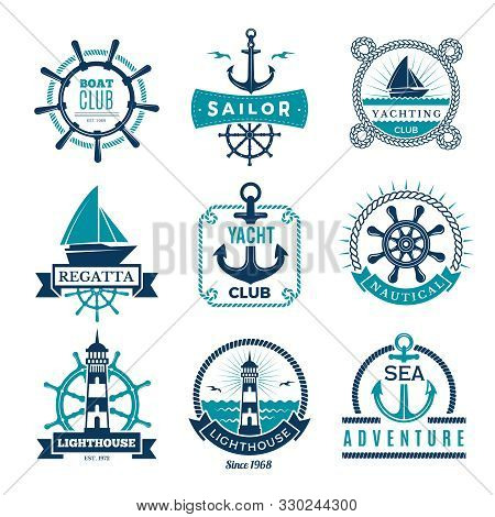 Marine Labels. Nautical Logo Sailing Boats Rope And Marine Knot Framed Vector Badges. Illustration M