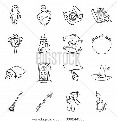 Isolated Object Of Occult And Magical Sign. Collection Of Occult And Gothic Vector Icon For Stock.