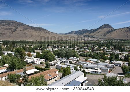 Kamloops, Canada. Sleepy Suburban Residential District Townscape With Trailer Parks.