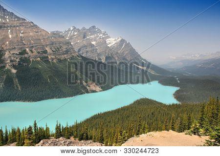 Banff National Park In Canada. Peyto Lake Beautiful Landscape.